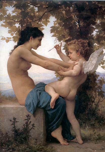 """William Adolphe Bouguereau (1825-1905), """"A Young Girl Defending Herself Against Eros"""" (1880)"""