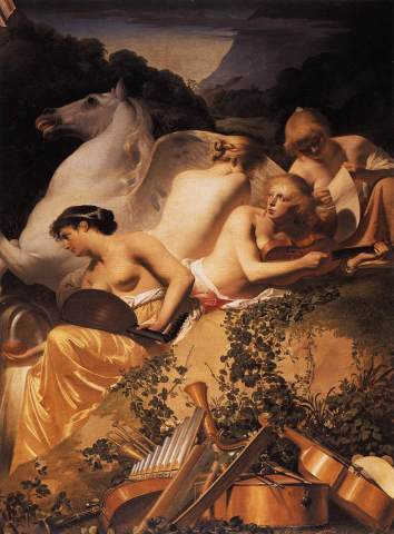 Caesar van Everdingen - Four Muses and Pegasus on Parnassus - 1650
