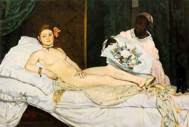 Olimpia (Pintura Impresionista, último 1/3 del siglo XIX) de Édouard Manet